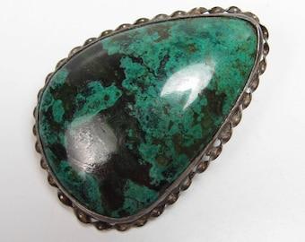Vintage Israel Sterling Silver Green Eliat Stone 935 Silver Pendant & Brooch