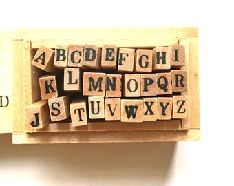 alphabet rubber stamp set with wooden box. uppercase letter stamps. japanese rubber stamps. planner stamps. size S. set of 26 letters