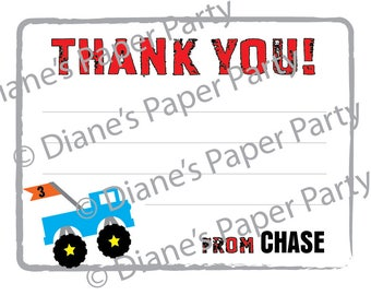 Monster Truck Thank You Cards - Printable Personalized Thank You Card, Printable DIY File