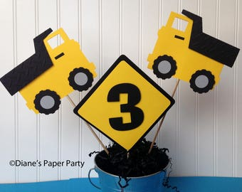 Construction Birthday Centerpiece Set, set of three - 2 Dump Trucks and Sign in yellow and black