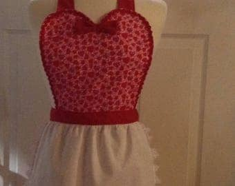 Valentines Day Queen of Hearts Christmas apron, womens full apron, flirty apron, house warming hostess gift