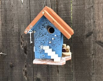 Handmade Wooden Birdhouse Unique Bird's House Hand Painted Blue & Caramel Rustic Garden Birdhouses, Item #522334674