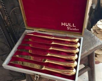 Vintage Hull Stainless Gold Finish KNife Set Of Sic Original Box Japan Abx