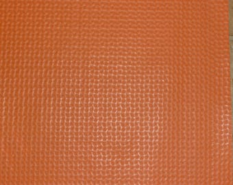 "Leather SALE 2 Pieces 3""x11"" Orange WAFFLE Weave Pattern Cowhide #330/1 2.5 oz / 1 mm PeggySueAlso™"