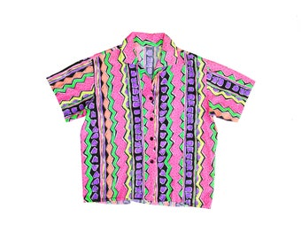 Rare Neon 80s Jantzen Mad Scientist Beach Surf Button-Down Short Sleeve Shirt - M