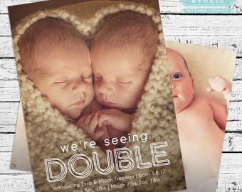 Seeing Double Photo Birth Announcement