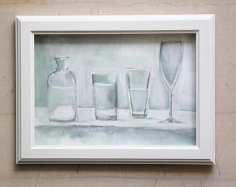 Abstract Still Life Painting with Glasses and a Bottle  - Mixed media original painting - Small Fine Art Painting - Natura Morte
