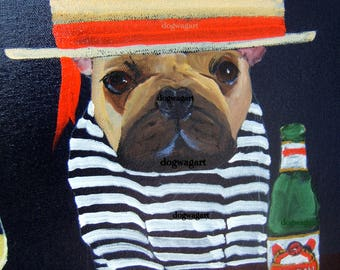 "French Bulldog Art Print of an original oil painting-""Yet, Another Most Interesting Gondolier In The World"" / Dog art"