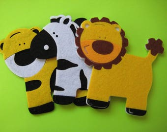 Sale FELT Animal Ornaments Tiger, Lion and Zebra for Safari, Jungle Themed, Crafting, Baby Shower, Scrapbook, Embellishment