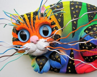 Whimsical kitten art,cat wall sculpture,crazy cat lady art, whimsical cat,colorful cat