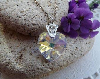 Swarovski Crystal AB 18mm Crystal Heart Pendant (style 2)