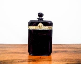 Vintage Signed Art Deco Black Glass Nuit de Noel Caron Perfume Bottle 2oz Empty