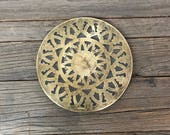 Vintage brass and glass round circle trivet