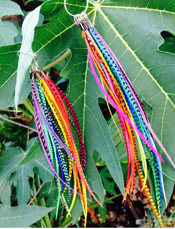 Made to order: Convertible Rainbow Chakra and Natural Feather Earrings - Mix and match any color combination