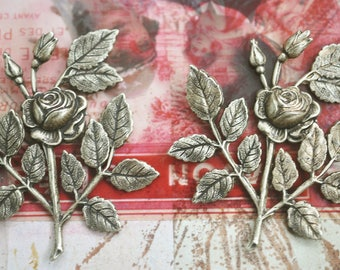 TWO Neo Victorian brass rose spray with leaves, brass stampings, Brass Ox, Jewelry Findings, Craft Supplies by Calliopes Attic