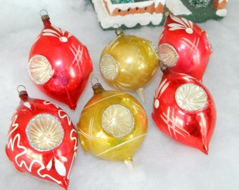 Beautiful Vintage Glass Christmas Ornaments RARE QUAD INDENTS