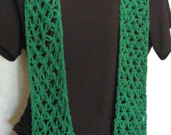 Green (Solomon's) Lovers Knot Lace Crocheted Scarf