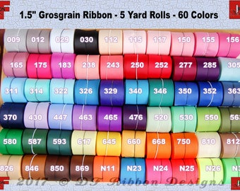 1-1/2 inch Solid Grosgrain Ribbon  - NEW COLORS - 5 yards - 60 colors to choose from - wholesale price