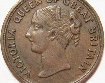 1800's Farthing Token W. Large Company Tea Dealers Stafford Britain England Rare