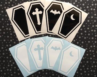 "Coffin vinyl decal [4x6""] - Car decal, Laptop sticker, Spooky, Goth, Macabre, Horror, Halloween, Hallowe'en"