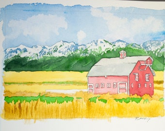Original Watercolor Painting, Farmhouse, 8x12 inches, Vacation art, travel drawing, dunes, ocean, salt water
