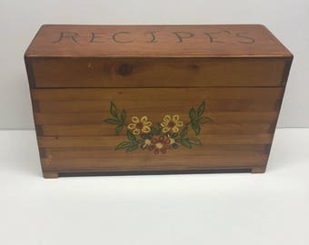 Vintage Recipe Box Triple Compartments Hardwood Dove tailed  Brown Eyed Susan daisy
