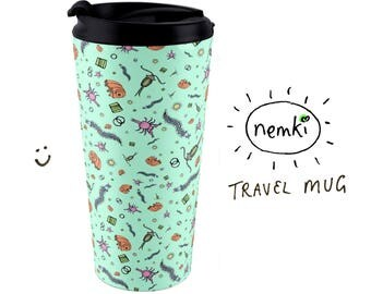 Microscopic Animal Travel Mug, Waterbear Mug, Gifts for Biologists, Biology Gift, Biology Mug, Biology Student Gift, Microbiology Gift
