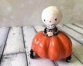 Skeleton Pumpkin Car Figurine - OOAK