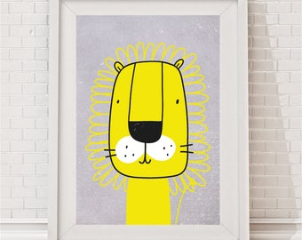 Mustard Yellow Lion Print - Gus