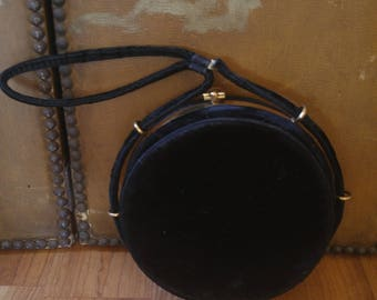 50s black velvet round evening clutch case / bag