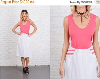 ON SALE Vintage 80s Pink + White Color Block Dress Retro Striped medium M 8621
