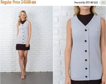 Sale Vintage 60s 70s White + Brown Striped Dress Mod Color Block Mini XS 9007