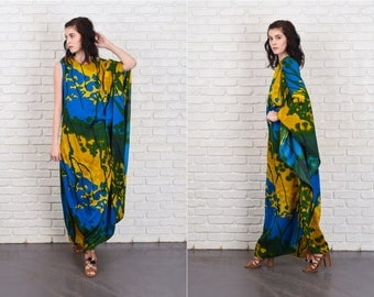 Vintage 70s One Shoulder Caftan Dress Hippie Boho Yellow Blue Hawaiian XS Small 11067