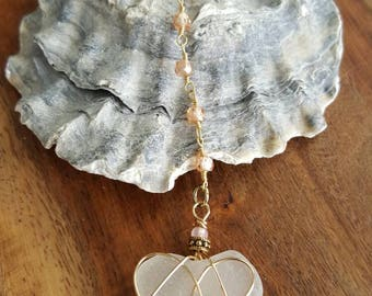 Blush Sea Glass Rosary Chain Necklace