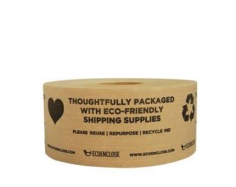 """3""""x 450 ft - EcoEnclose Eco-Friendly Kraft Paper Tape - Printed """"Thoughtfully Eco-Friendly"""" - Single Roll"""