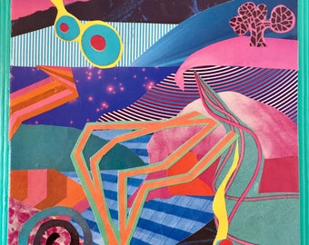 """Original Mixed Media Collage Otherworldly Landscapes Series Art by Jami Joelle Nielsen """"Psychedelica"""""""