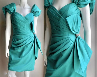 80s Teal Gathered Party Prom Dress with Huge Bow and Rhinestones sweetheart neck line - M