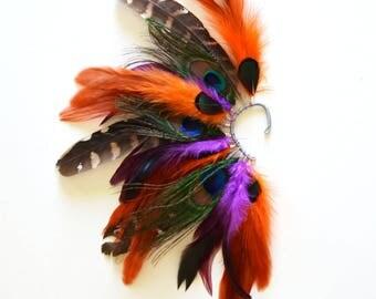 Feather Ear Cuff, Feather Ear Wrap, Festive Earrings, Festival, Feather Earrings, Tribal, Carnaval