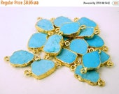 15% off Christmas in July Turquoise Petite Double Bail Connector Charm Pendant with 24K Gold Electroplated Edge (S28B4-21)