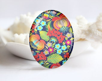 Oval Photo glass Cabochon Floral Image Glass Cover  (3784)