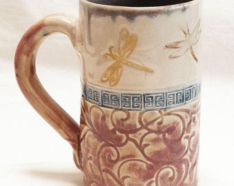 ceramic 16oz. stoneware dragonfly coffee mug 16D045