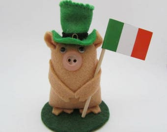 Seamus the St Patrick's Day Pig - Flying the Flag Pig - Pig Gift