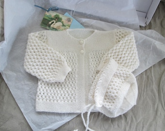 Hand Knit Baby Sweater Set Coat Bonnet White 3M to 6M  Baby Girl Gift Set Ready to Ship