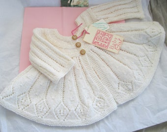 Hand Knit Baby Sweater Baby Girl Ready to Ship Luxury Ivory Wool 9M to 12M