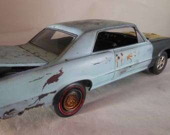 Scale Model Car,Pontiac GTO,Classicwrecks,Steampunk,Rat Rod,Blue Model Car,Junker Model