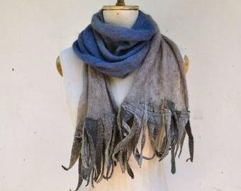 boho fringe scarf, ombre sky blue Angora wool felt shawl dread, hand dayed, pure soft wool, blue beige grey, openwork unique art to wear B11