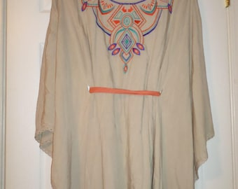 Couture Blouse Tunic Top Over sized Embroidered Tan Colorful Bohemian