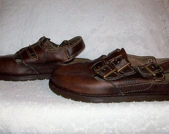 Vintage Ladies Brown Leather Side Buckle Fisherman Sandals by Dr Marten UK Size 7 Only 18 USD