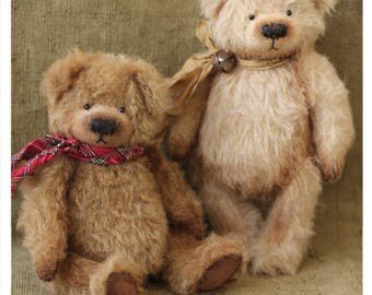 Artist Teddy Bears Tirly beige - Dirly brown 16 cm OOAK
