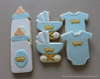 Royal baby cookies - Large baby bottle, buggy  and romper suit decorated sugar cookie (#2278)